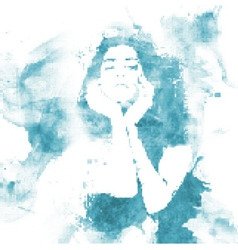 halftone water woman vector image