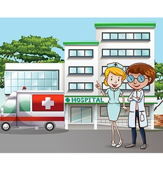 Hospital and doctor vector image