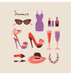 Summer collection of isolated woman clothes and vector image vector image