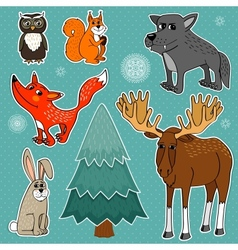 winter forest animals vector image
