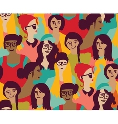 Woman only crowd group color seamless pattern vector image vector image