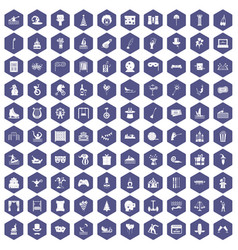 100 amusement icons hexagon purple vector