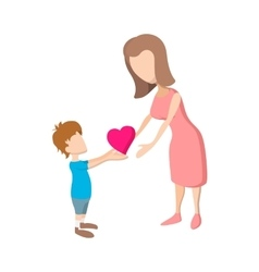 Boy giving a heart to her mother cartoon icon vector image vector image