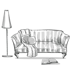 Comfortable sofa and a lamp vector image