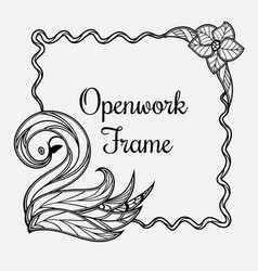 frame with swan vector image vector image