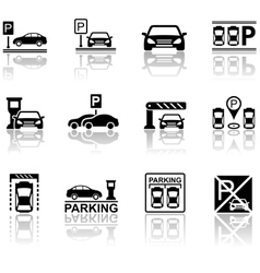parking icons with reflection vector image