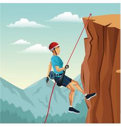 Scene landscape man mountain descent with vector