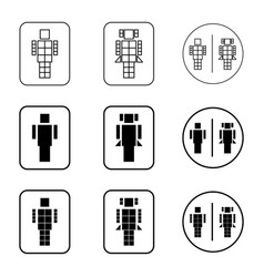 toilet robot sign icon set vector image