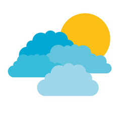 colorful silhouette with set of clouds and sun vector image