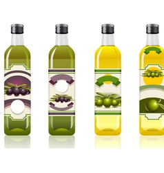 Four Olive Oil Bottles with Labels vector image vector image