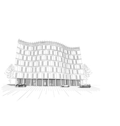 Linear multistory apartment or office building vector image vector image