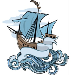 Marine emblem ship going over the waves vector image vector image