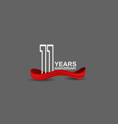 11 years anniversary line style white color vector