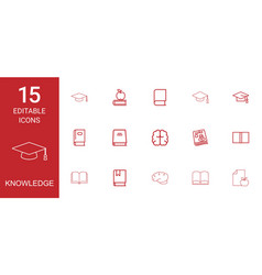 15 knowledge icons vector image