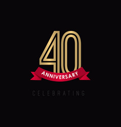 40 year anniversary luxury gold black logo vector