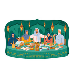 Arabian family sitting at table celebrate holiday vector