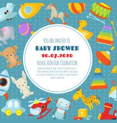 Baby shower born celebration background vector