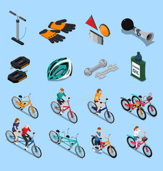 Bicycle isometric icon set vector