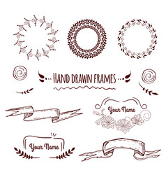 big collection of hand drawn badges borders fram vector image