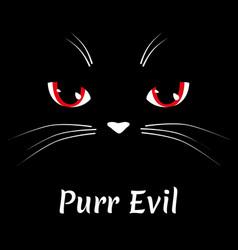 black cat face evil kitten character vector image