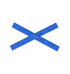 Blue wooden barrier in cross shape vector