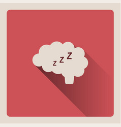 Brain thinking in sleep on red background with vector