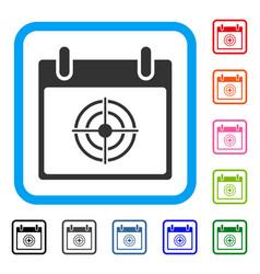 Bullseye calendar day framed icon vector