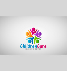 Children care logo design vector