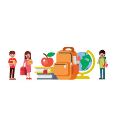 children stand next to school items back to vector image