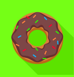 choco donut icon flat style vector image