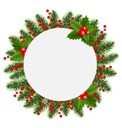 Christmas banner with holly berry white background vector