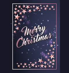 christmas poster card template with stars border vector image