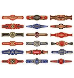 cigar badges vintage labels set template vector image