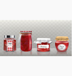 Collection glass jars with jam in a vector