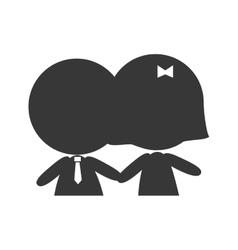 Couple boyfriends silhouette vector
