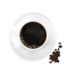 cup of coffee and coffee beans isolated vector image