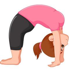 cute woman cartoon exercing yoga sport vector image