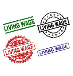 Damaged textured living wage seal stamps vector