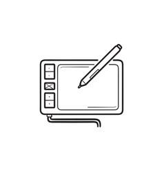 digital drawing tablet hand drawn outline doodle vector image