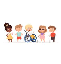Disability kids children in wheelchair unhealthy vector
