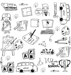 Doodle of object school education vector