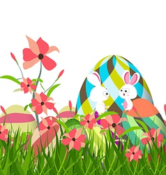 Easter eggs and bunny spring with flower vector