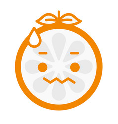 Emoji - worry orange with drop of sweat isolated vector
