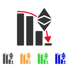 Ethereum classic falling chart icon vector