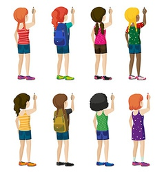 Faceless kids with fashionable attires vector