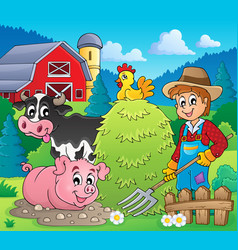 farmer theme image 4 vector image