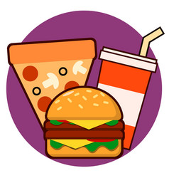 Fast food combo icon hamburge pizza drink vector