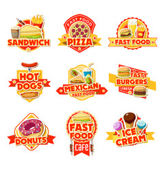 fast food labels burgers drinks and dessert vector image