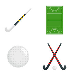 Field hockey icons set flat style vector