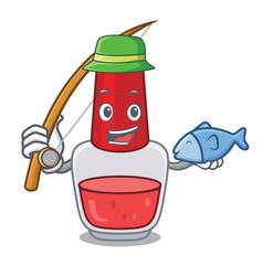 Fishing nail polish mascot cartoon vector